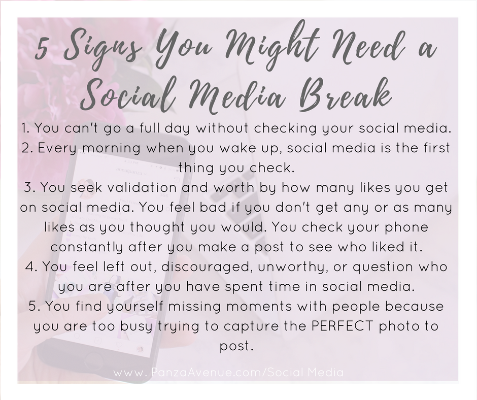 5 signs you might need a break from social media and a 7 day social media fast www.PanzaAvenue.com/SocialMedia